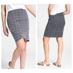 Athleta Kickback Skirt Faux Wrap Navy Stripe
